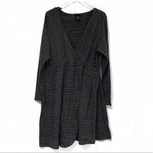 Torrid Gray Metallic Long Sleeve Striped Dress